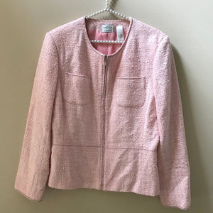 Emma James Plus Boucle Pink Zip Up Career Jacket